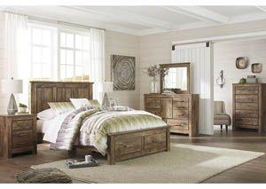 ABF  STORAGE Blaneville Brown Bed W/Dresser, Mirror, Drawer Chest And  Nightstand