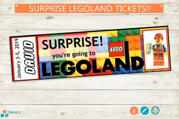 photo relating to Legoland Printable Coupons called Printable LEGOLAND Ticket // Adobe Reader Editable PDF