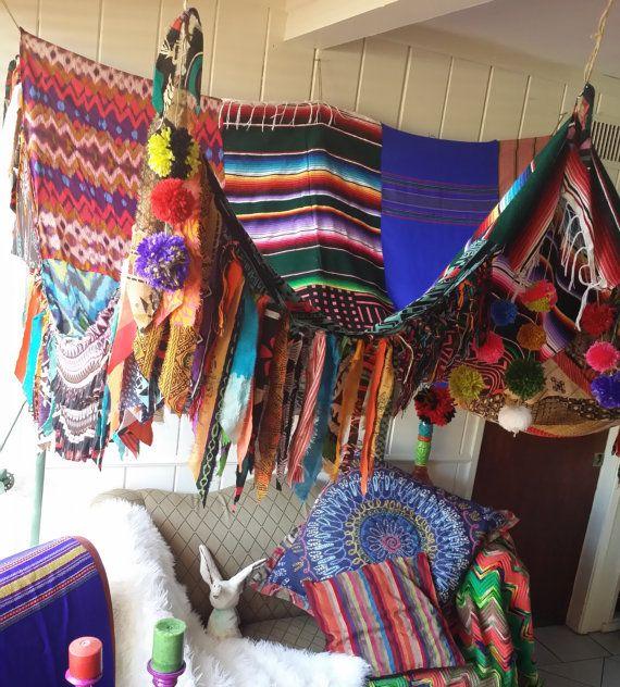 Boho Canopy Tribal POW WOW serape Bohemian hippy bedroom Gypsy hippie patchwork meditation garden Wedding Decor & IN Stock Boho Canopy Tribal POW WOW Bohemian hippy bedroom Gypsy ...