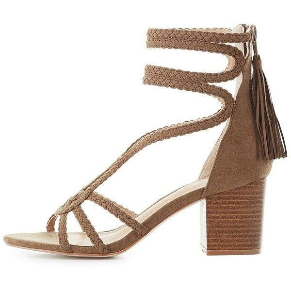 1e864495db8 Charlotte Russe Braided Caged Sandals ( 25) ❤ liked on Polyvore featuring  shoes
