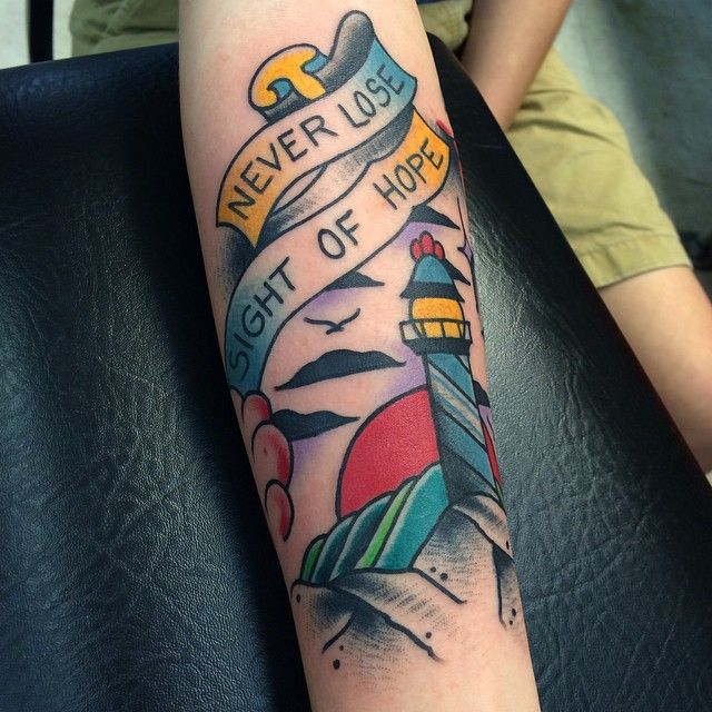 Lighthouse on the forearm. Really fun