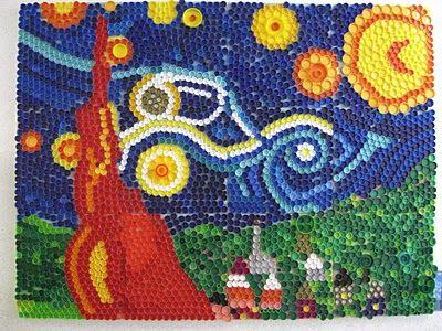 Mosaico Tampas De Garrafa Producao De Arte Tampinhas