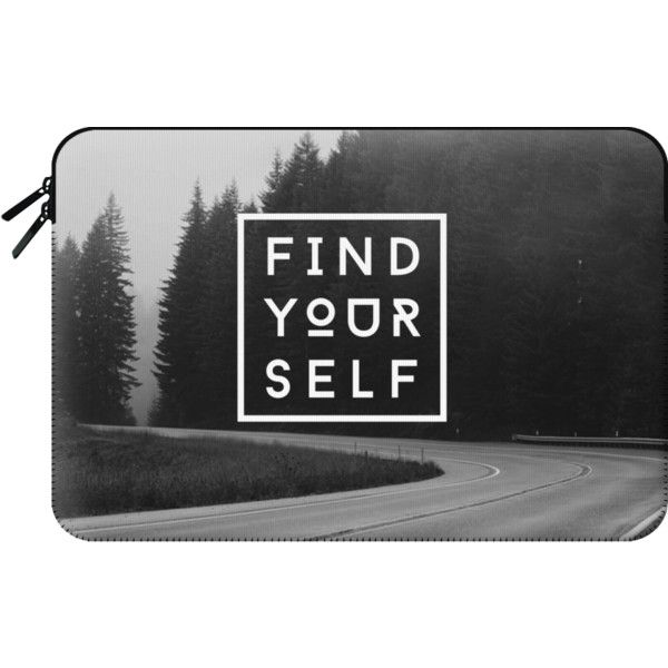 Macbook Sleeve - FIND YOURSELF ($60) ❤ liked on Polyvore featuring accessories, tech accessories, bags and macbook sleeve