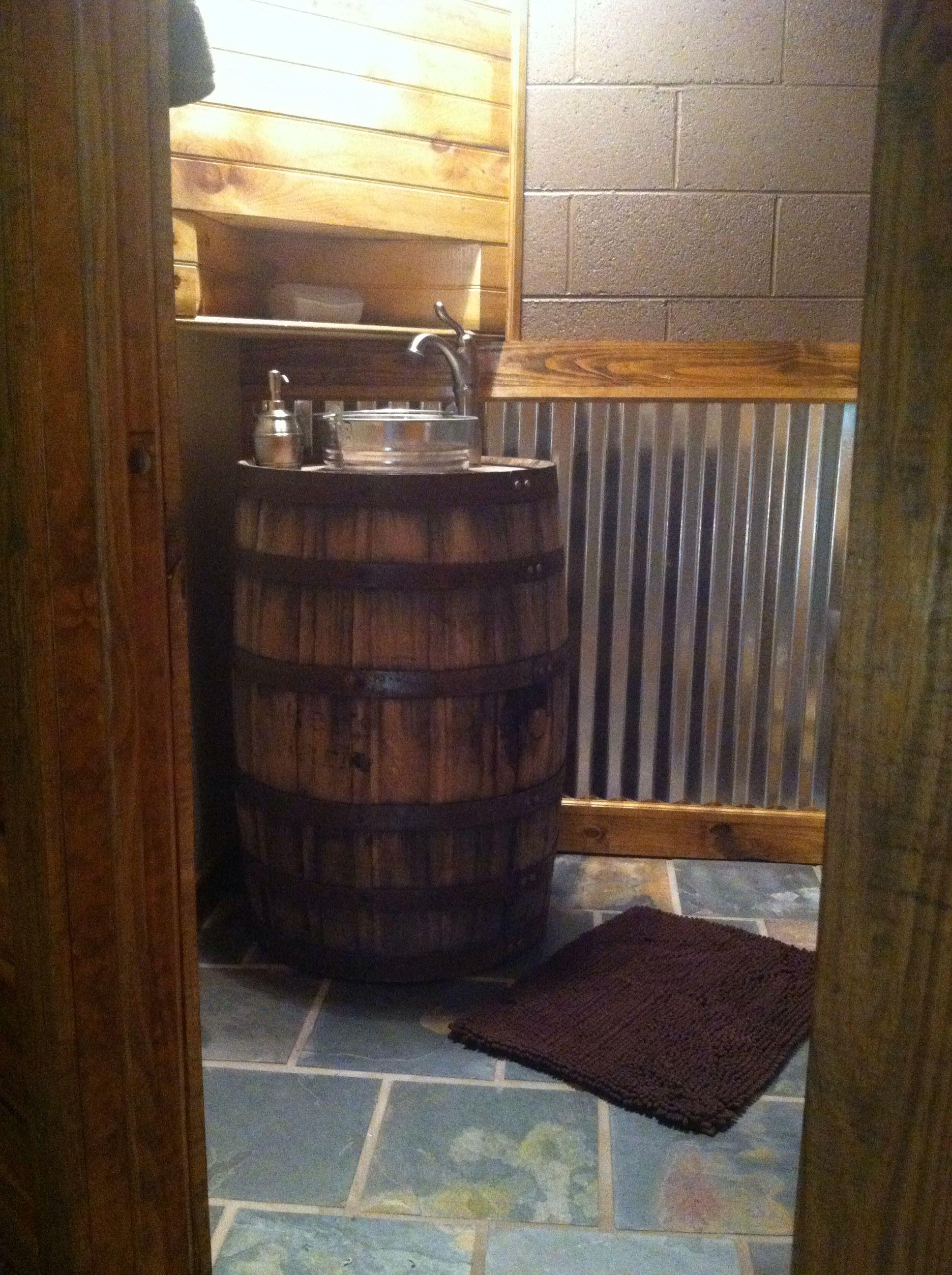 Whiskey barrel sink rustic bathroom Basement Decor