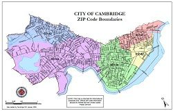 Cambridge Zip Code Map | Boston | City of cambridge, Zip code map, on