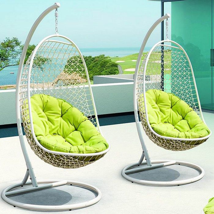 Portia Rattan Porch Swing In Green Patio Swing Chair Patio Lounge Chairs Modern Patio Furniture Lounges