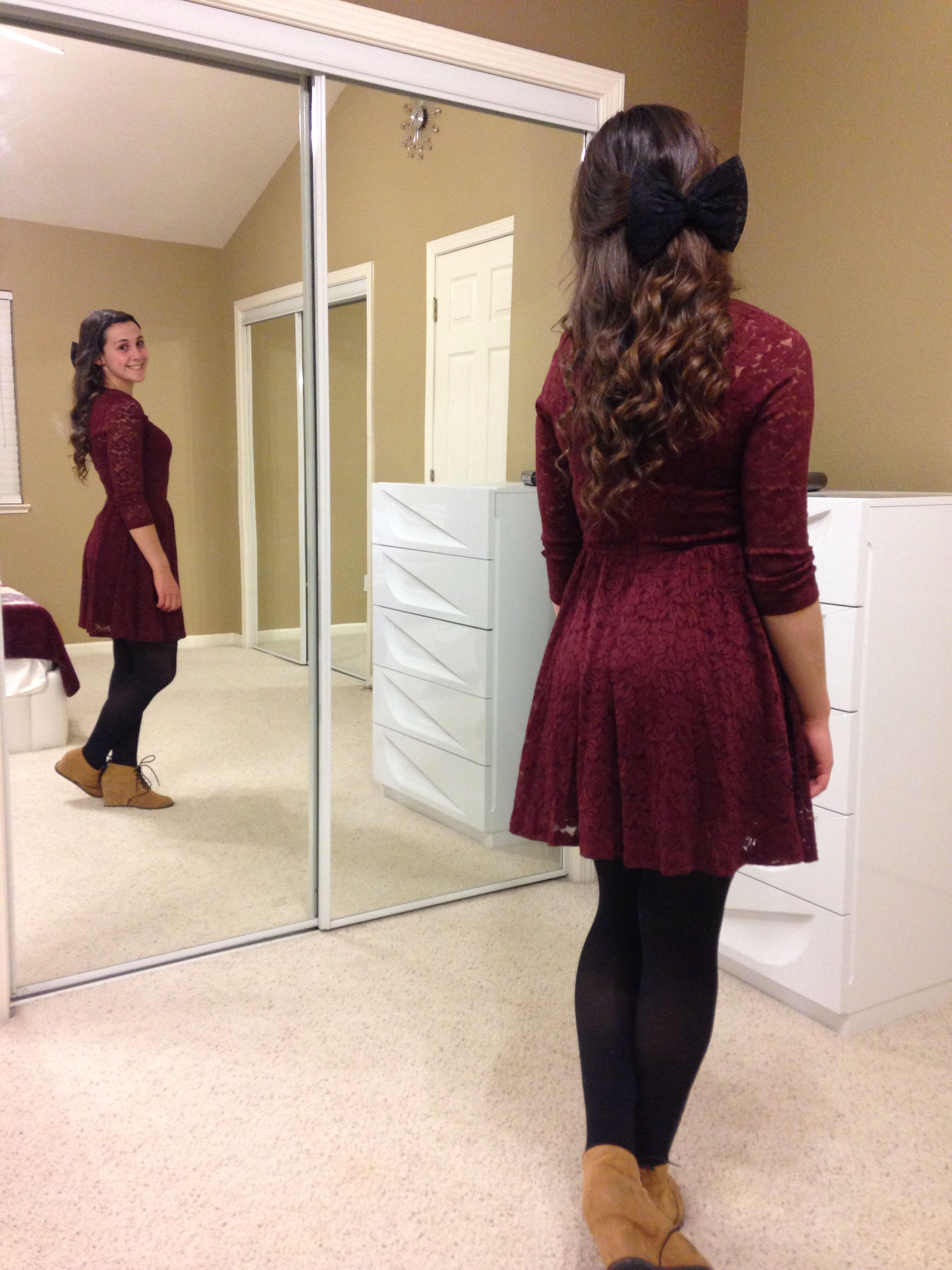 Lace Dress With Black Tights And The Perfect Wedges Burgundy Dress Outfit Fall Dress Outfit Black Dress Outfits [ 3264 x 2448 Pixel ]