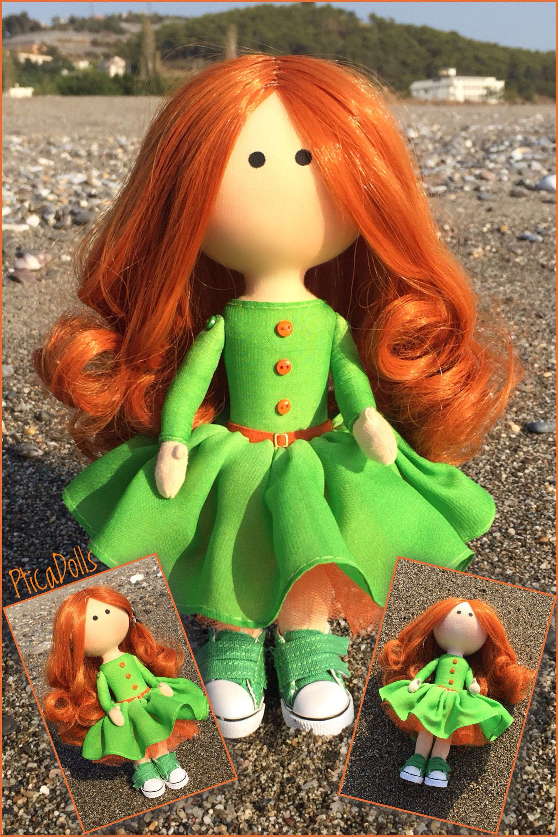 Bright Redhead Girl Corporate Mascot Apple Green Dress Ooak Textile