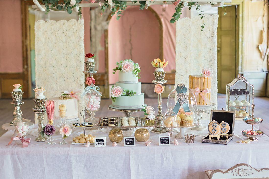 Fabulous looking vintageinspired wedding dessert table sweet