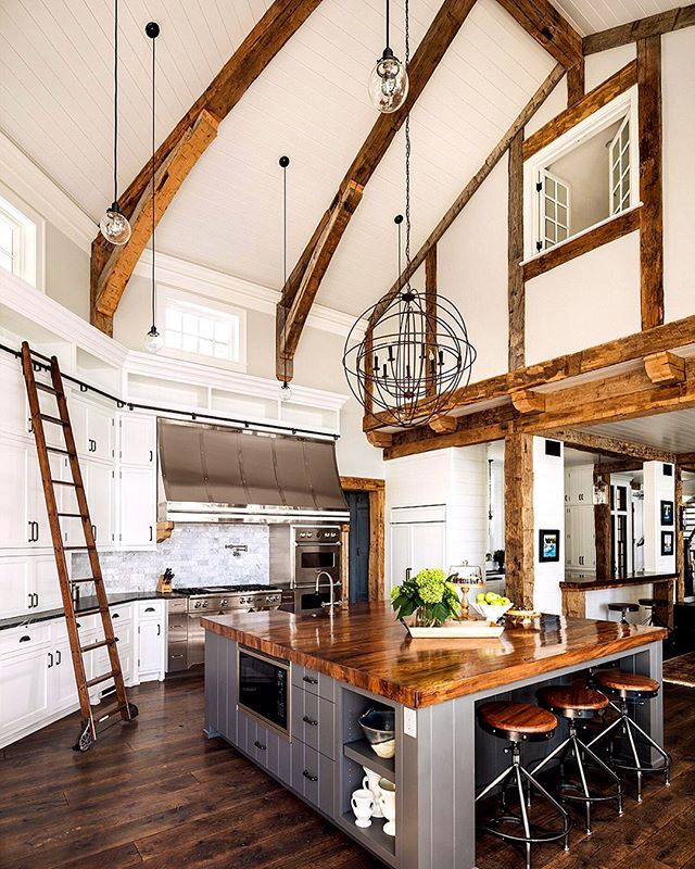 Incredible Kitchen Remodeling Ideas: Incredible Farmhouse Kitchen Design With Vaulted Ceilings