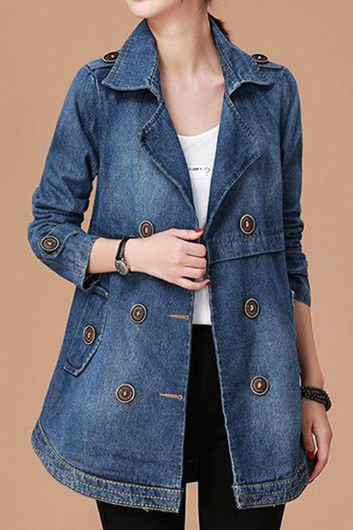 Pocket Button Detail Long Sleeve Denim Coat – Seasons