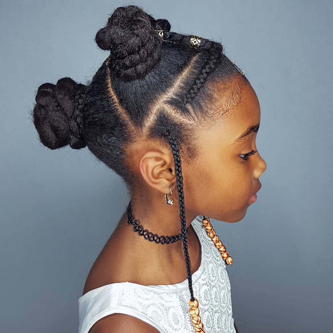 Buns and braids hairstyles for black girls kids hair in