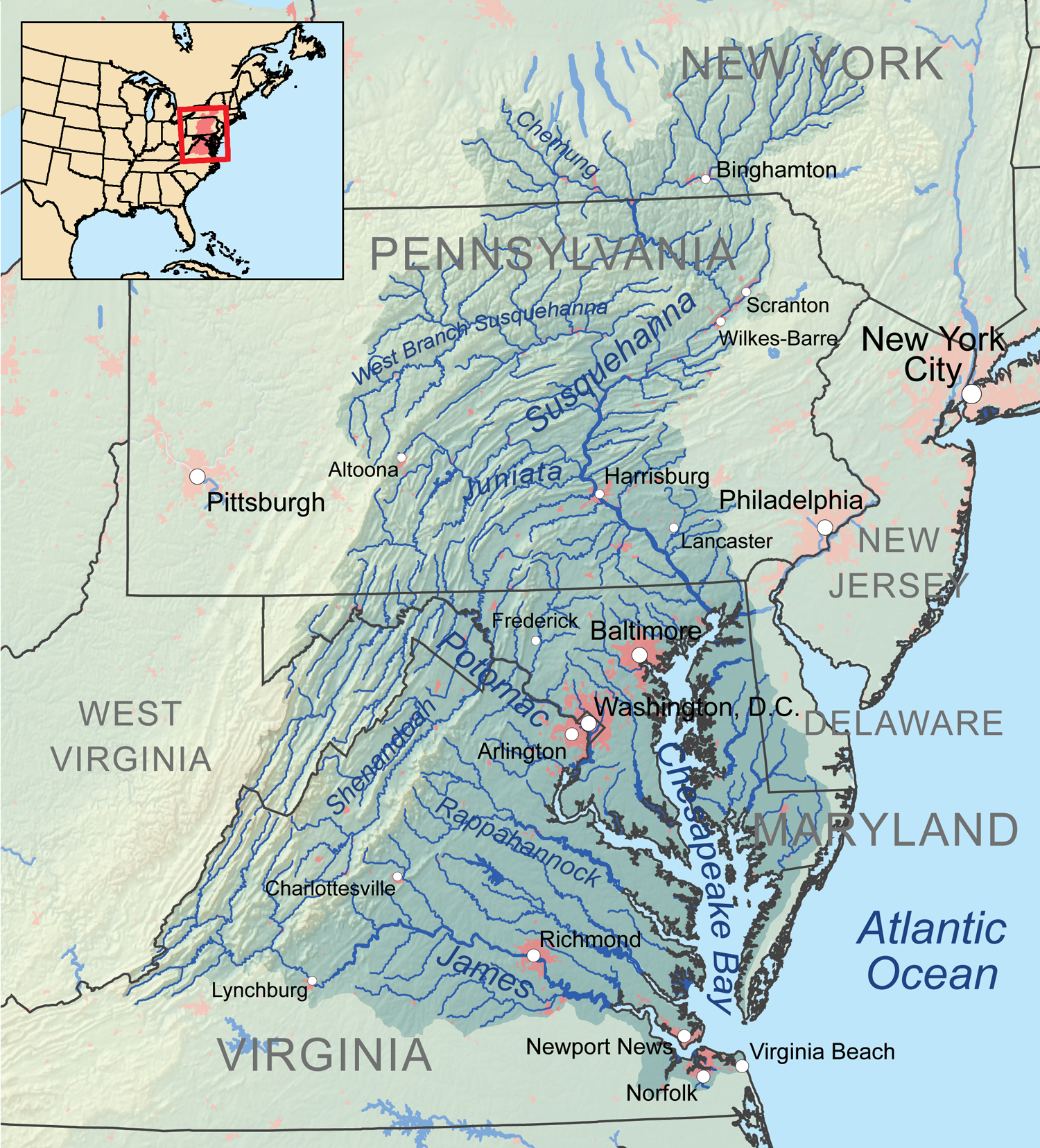 Map Of Virginia And Maryland With Waterways Google Search - Us lakes and rivers map