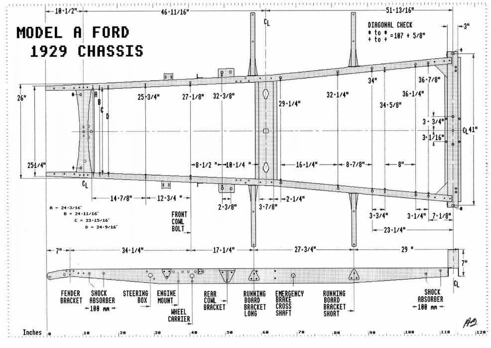 A Frame Dimensions The Ford Barn Model T Chassis Fabrication Model