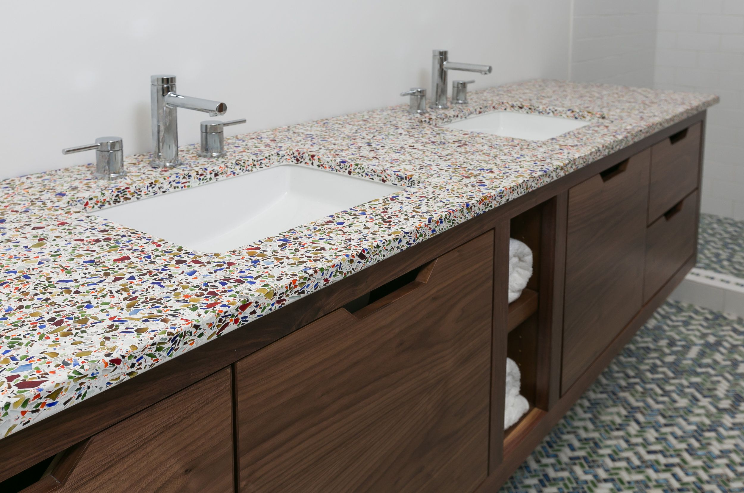 Confetti Bathroom Vanity By Gleco This Colorful Countertop Was Made With 100 Recycled Gl North Charleston Scgl