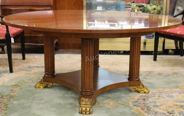 Henredon Round Dining Table In The Neoclassical Style With Gilded Wood Paw Feet Henredon Furniture Wickliffauctio Henredon Round Dining Table Dining Table