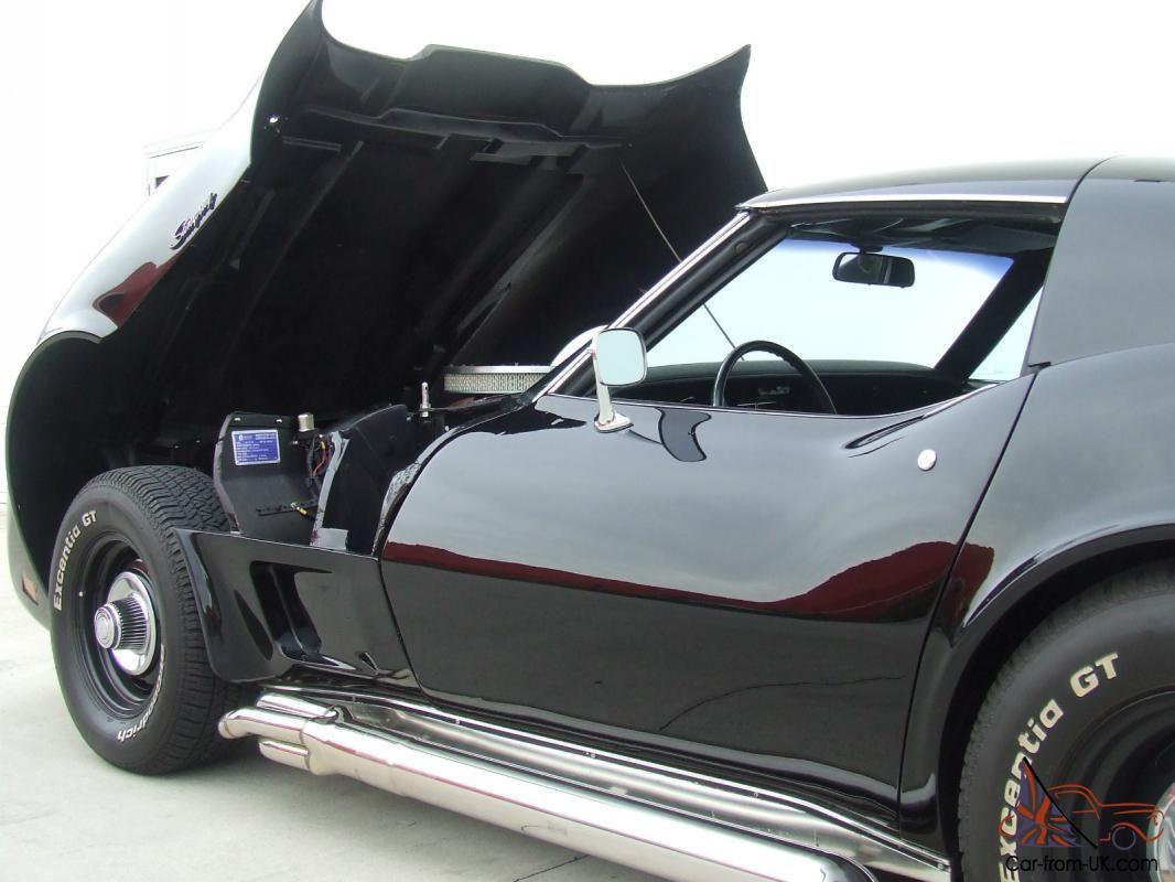1972 Black Corvette Big Block 454 Auto Tilt Front Side Pipes V8 Usa Chevrolet Black Corvette Corvette Chevrolet
