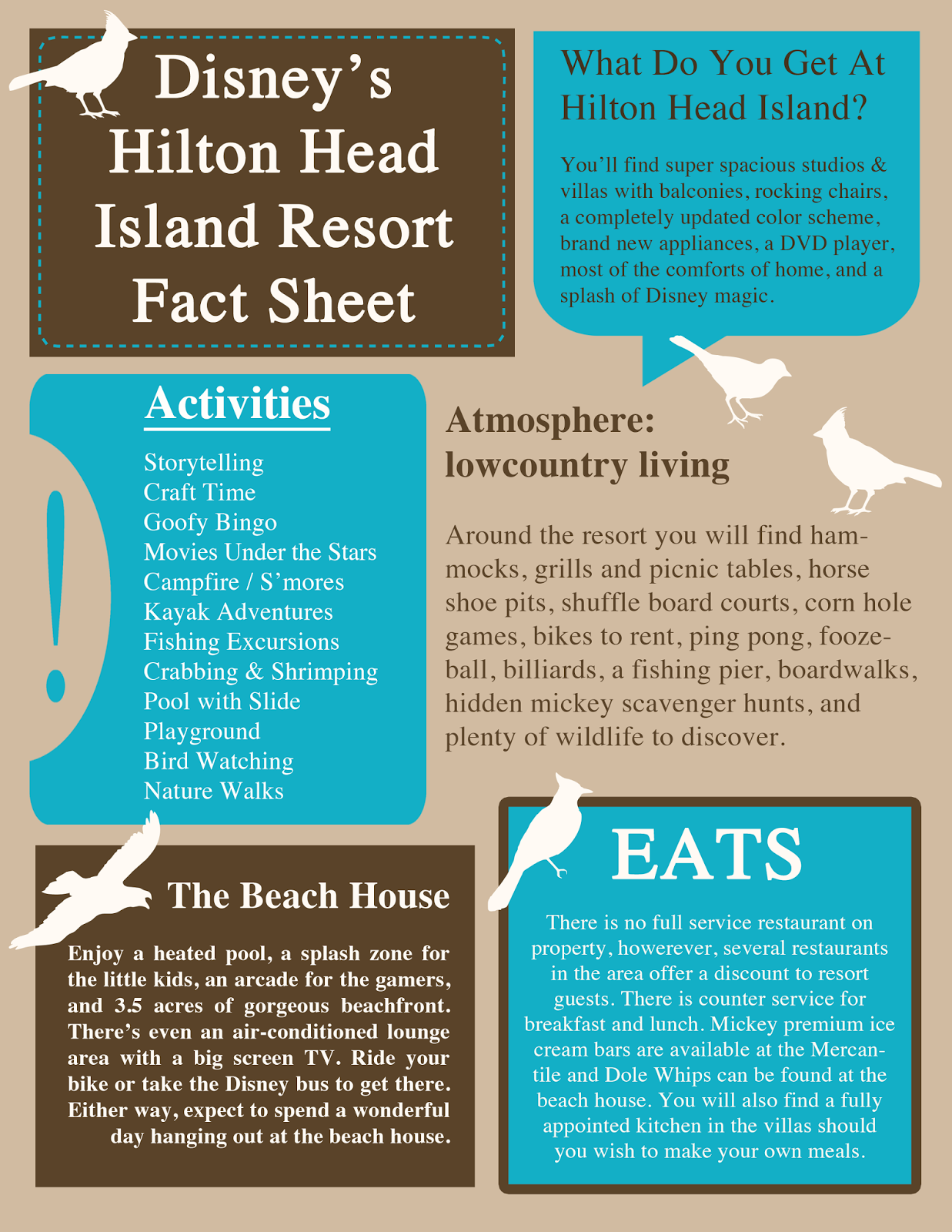 Disney S Hilton Head Island Resort Fact Sheet From Merryweather Cottage