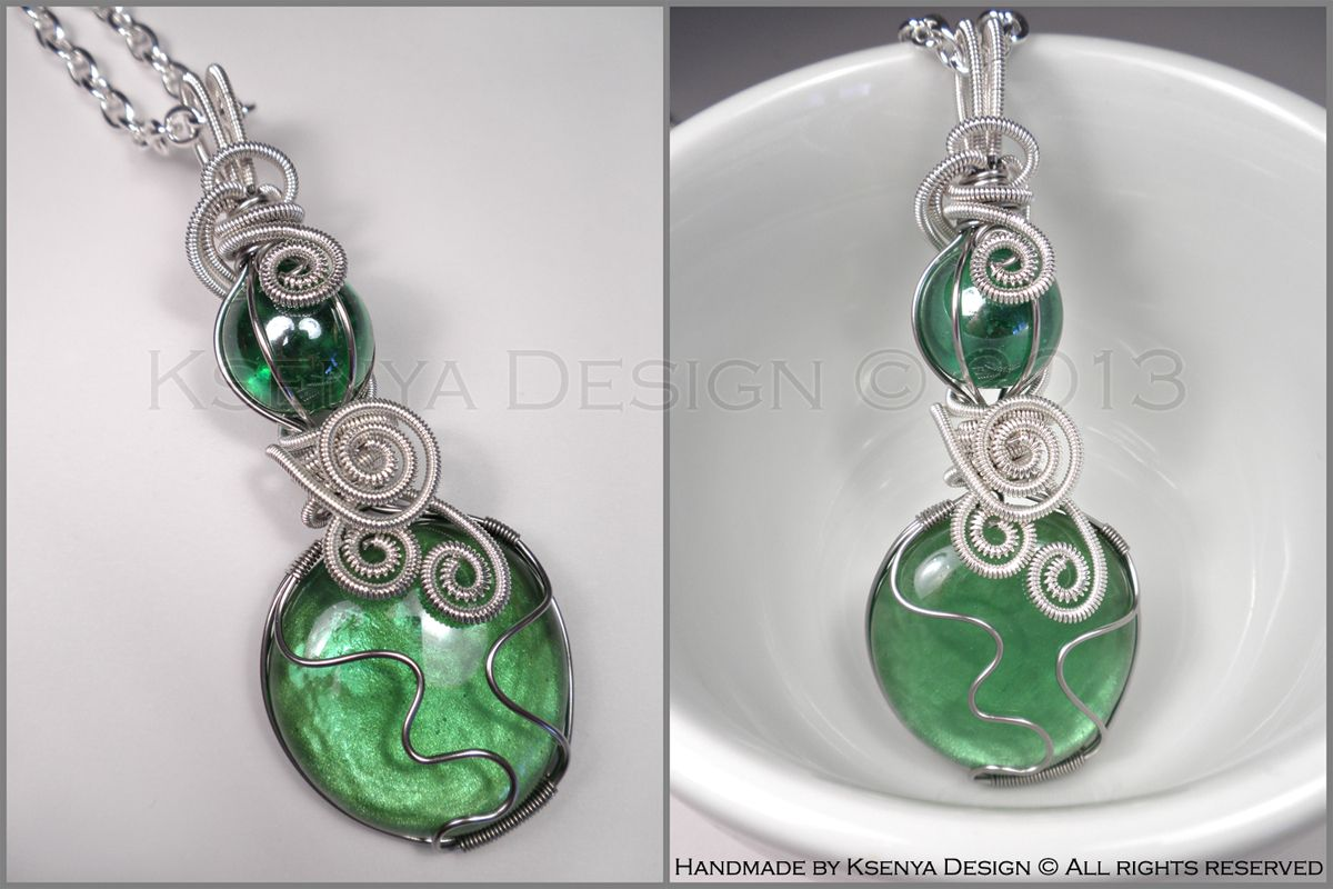 Green Potion No. 2 Revisited - unique wire-wrapped pendant. #jewelry ...