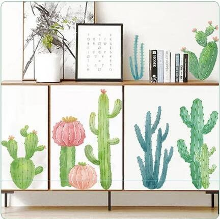 green blue Cactus with flower Decal nursery kids Decals