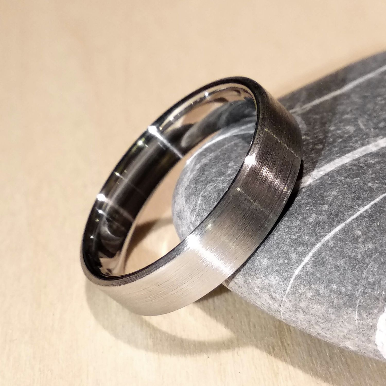 Brushed Stainless Steel Ring, Steel Ring, wedding ring