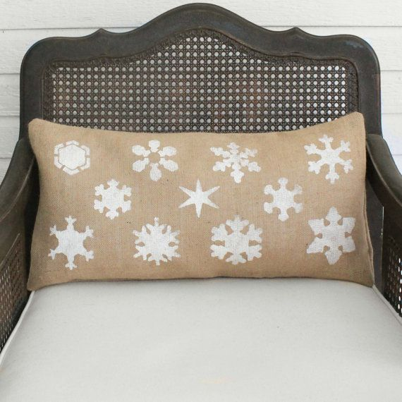 Snowflake Study  Burlap Christmas Pillow  Christmas
