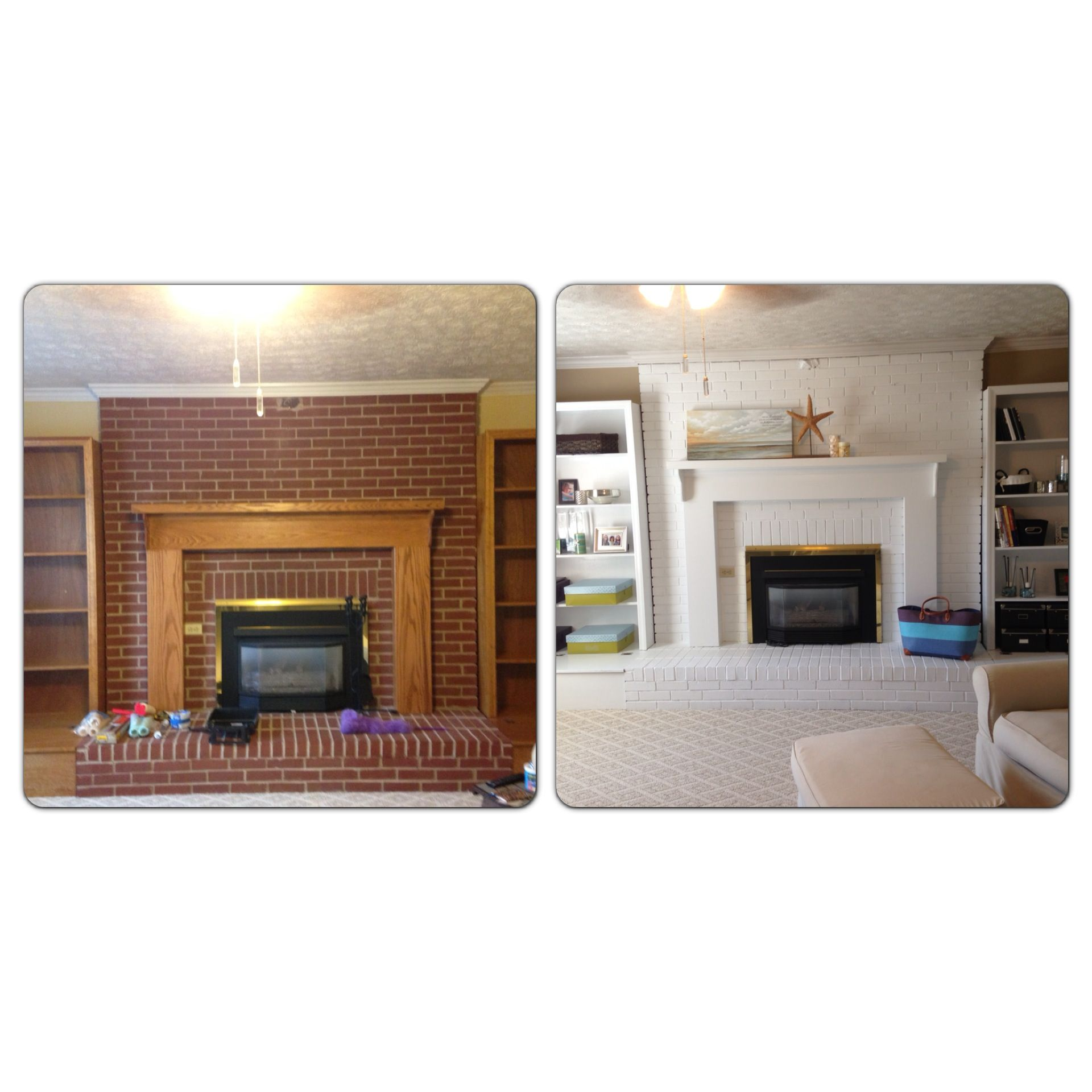 My Before And After Fireplace And Bookshelves