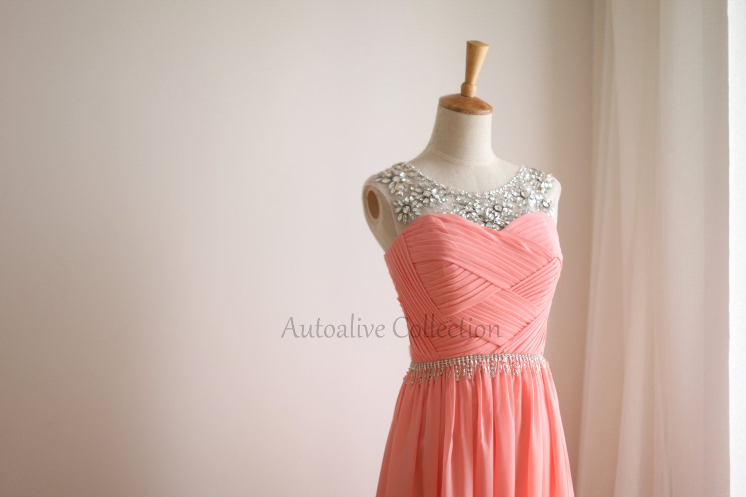 Coral pink chiffon simple wedding dressbridesmaid by autoalive