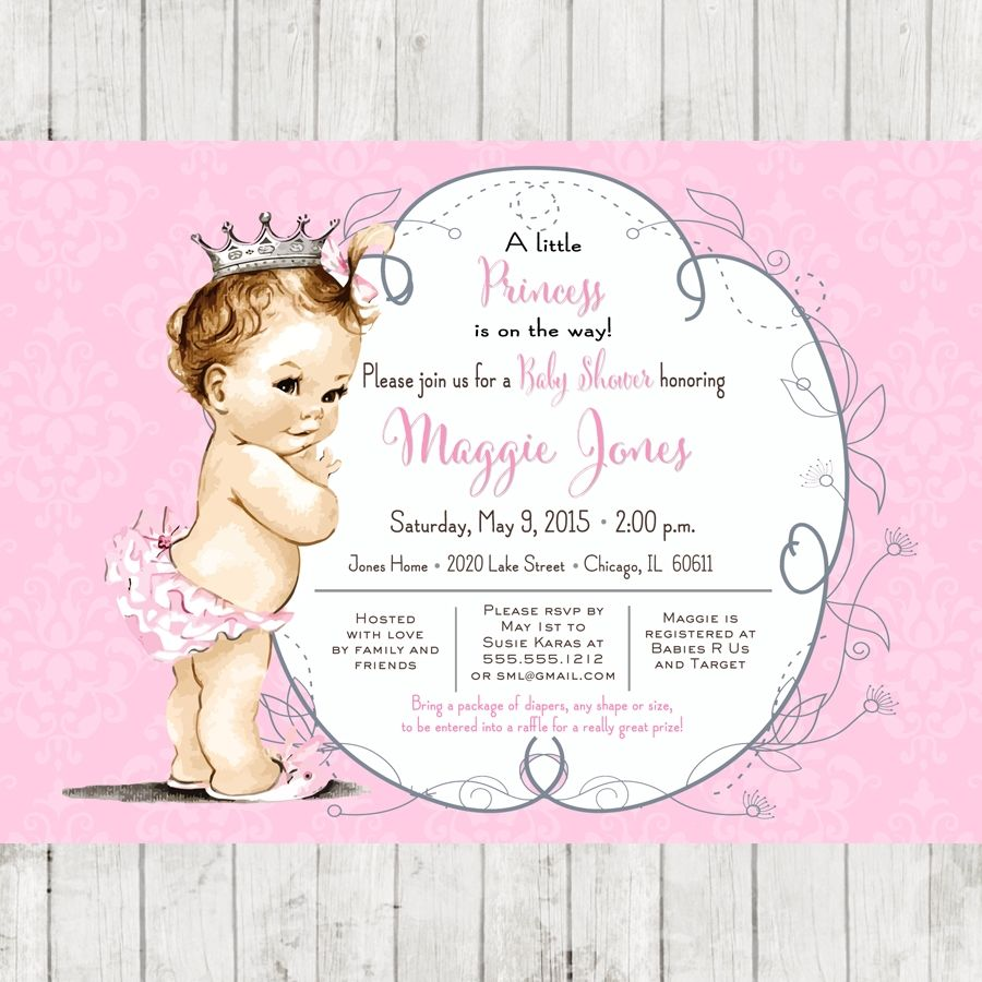 Vintage Baby Shower Invitation for girl, princess crown, pink, DIY ...