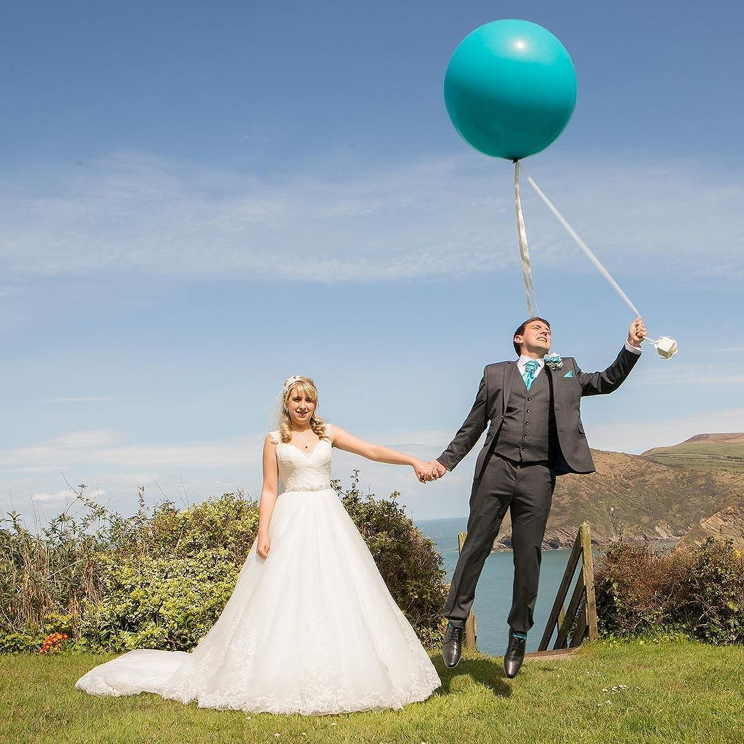 Marcus and Amy\'s beautiful blue sky wedding day. @hotelsandycove ...