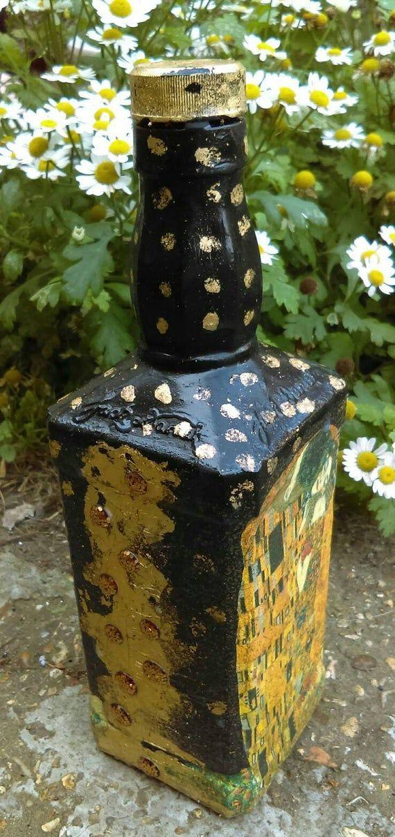 The Kiss Gustav Klimt decorated bottle.Hand painted bottle,Art Nouveau,Glass Whiskey Bottle Jack Da