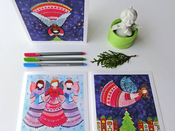 Christmas Angels Greeting Card Set. 3 by BeijosdeAlgodao on Etsy