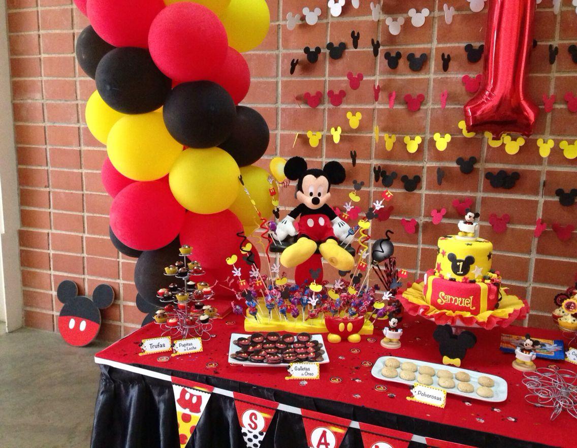 Decoracion fiesta mickey mouse samuel first birthday - Decoracion para fiestas infantiles mickey mouse ...