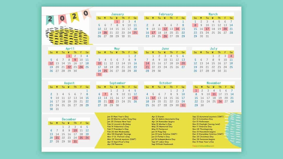 Free Printable 2020 Calendar With Holidays Free Printables Online Holiday List Free Printables Calendar Printables