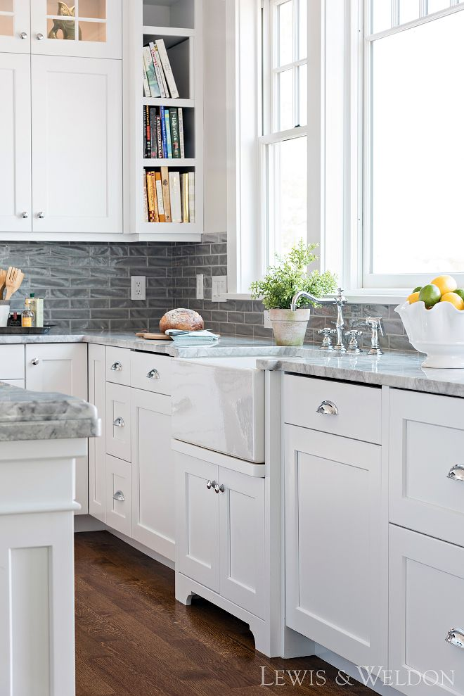 Farmhouse Kitchen Sink White Shaker Door Joinery Grey Marble