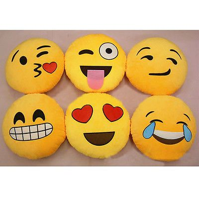 Iphone Emoji Smiley Emoticon Yellow Round Cushion Pillow Stuffed Plush Soft Toy Emoji Pillows Emoji Cushions Cute Pillows