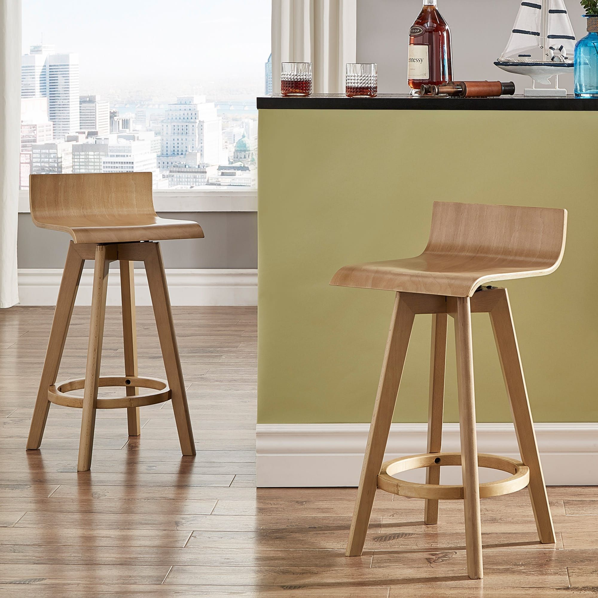 Ellery Mid-Century Modern Swivel Wood Stool (Set of 2) iNSPIRE Q Modern (24  Counter - Natural), Tan