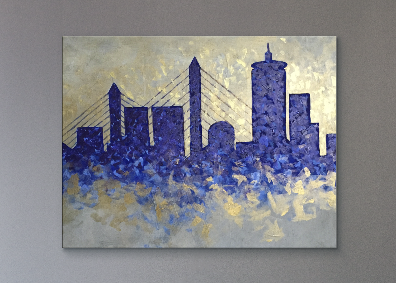 Boston Skyline 20x24in Acrylic Painting On Canvas Sold Canvas Painting Diy Boston Paintings Painting Art Projects