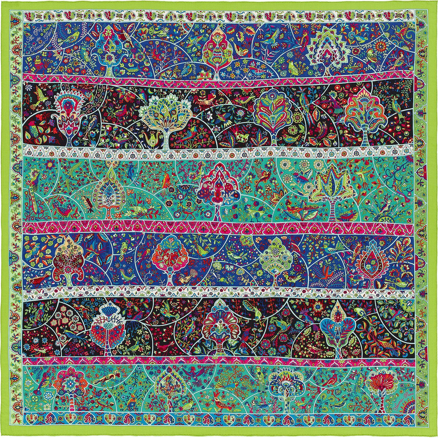 Au Pays des Oiseaux Fleurs   Châle 70 % cachemire 30 % soie (140 x 140 cm)    Coloris   vert vif bleu fuchsia   Dessiné par Christine Henry   Réf.    H242983S ... 85fa5aee08e