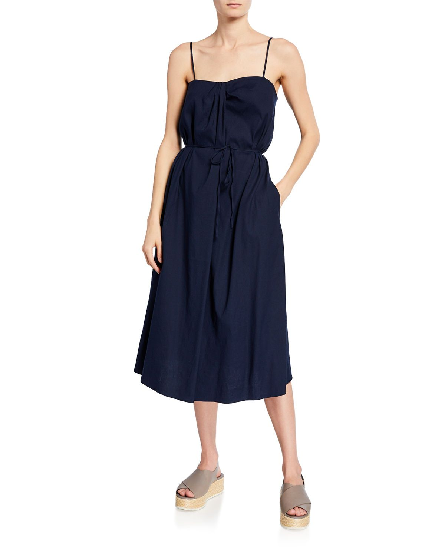 Vince Drape Neck Sundress In Marine Modesens In 2020 Midi Dress Midi Dress Sleeveless Dresses [ 1500 x 1200 Pixel ]