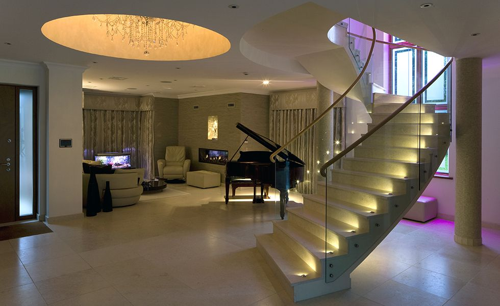 Stairs With LED Accent Lights And Colour Change Uprights