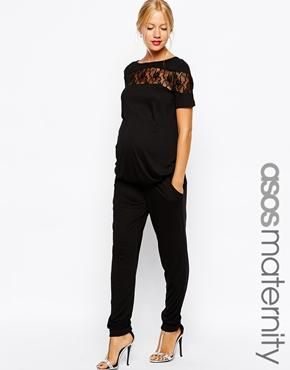 f71a78a1cbee0 ASOS Maternity Jumpsuit with Lace Panels | Baby | Maternity jumpsuit ...