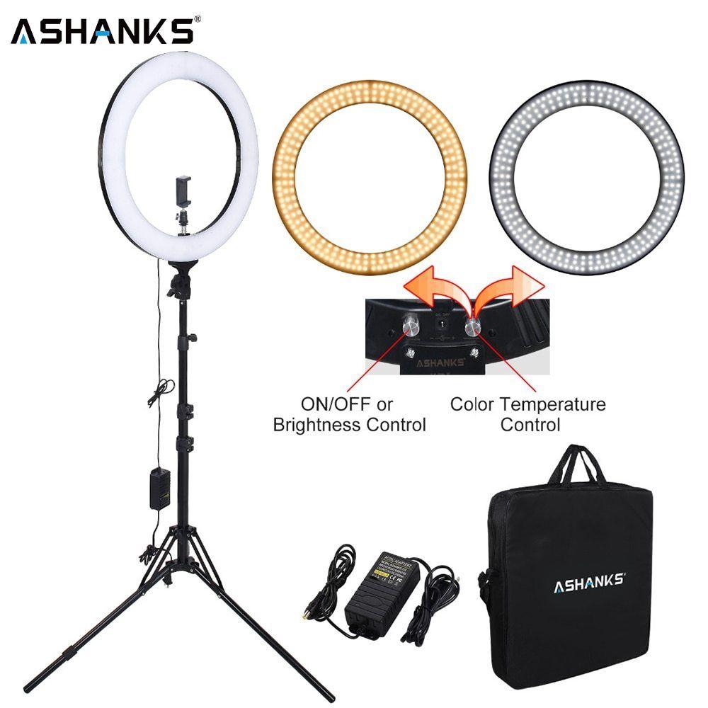 Ashanks 18inch Led Ring Light Circular Photography Lighting With Tripod 5500k 448pcs Leds Camera Photo Studio Phone Video Lamp Ashan Tragetasche Stativ Lampe
