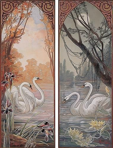 swans two decorative panels mary golay circa 1905 mary. Black Bedroom Furniture Sets. Home Design Ideas
