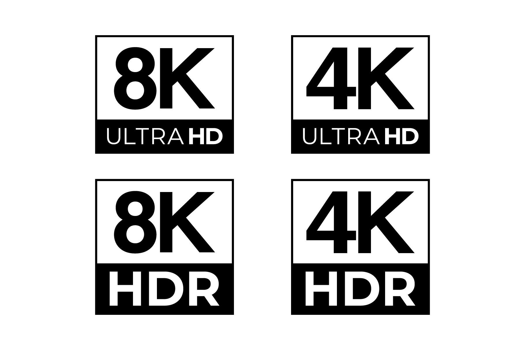 4k 8k Ultra Hd And Hdr Logo Set Logo Set Creative Market Infographic Templates