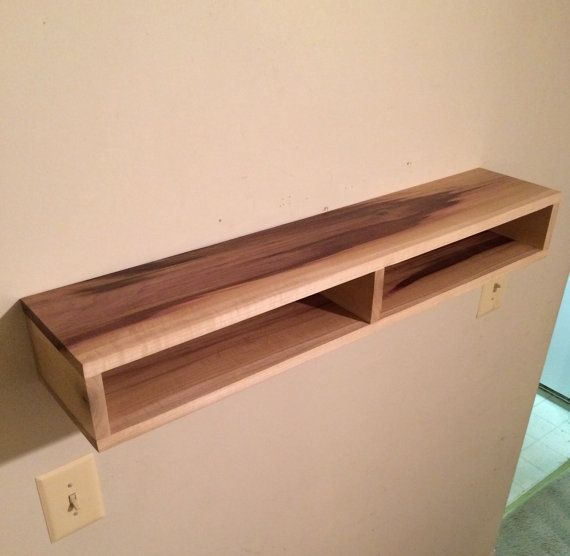 Floating shelf with divider wood shelf rustic home decor for Floating console table ikea