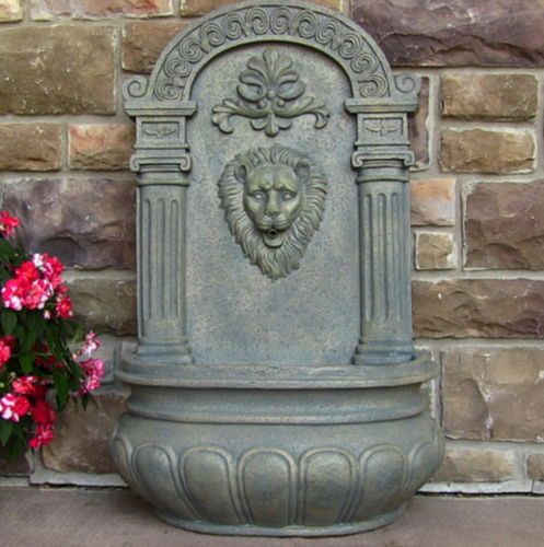 Lion Head Solar On Demand Wall Fountain In French Limestone Finish