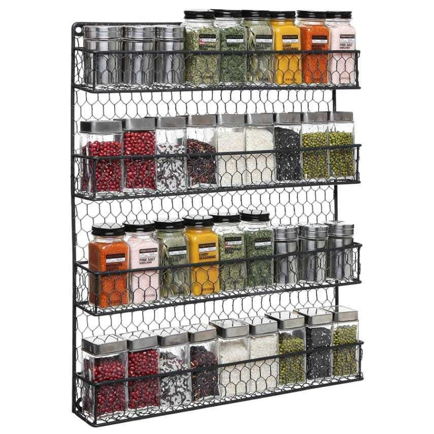 (4   Tier) Chicken Wire Pantry Spice Organizer Storage Rustic Wall Door  Cabinet