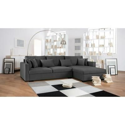 Malma Canape D Angle Reversible 5 Places Tissu Gris Anthracite