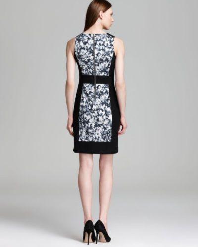 MICHAEL-Michael-Kors-Black-wild-flower-Color-Block-Panel-dress-size-10